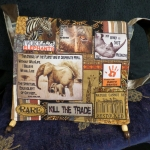 A lovely example of one of our bags using all recycled fabrics.  Including beads from old car seat covers
